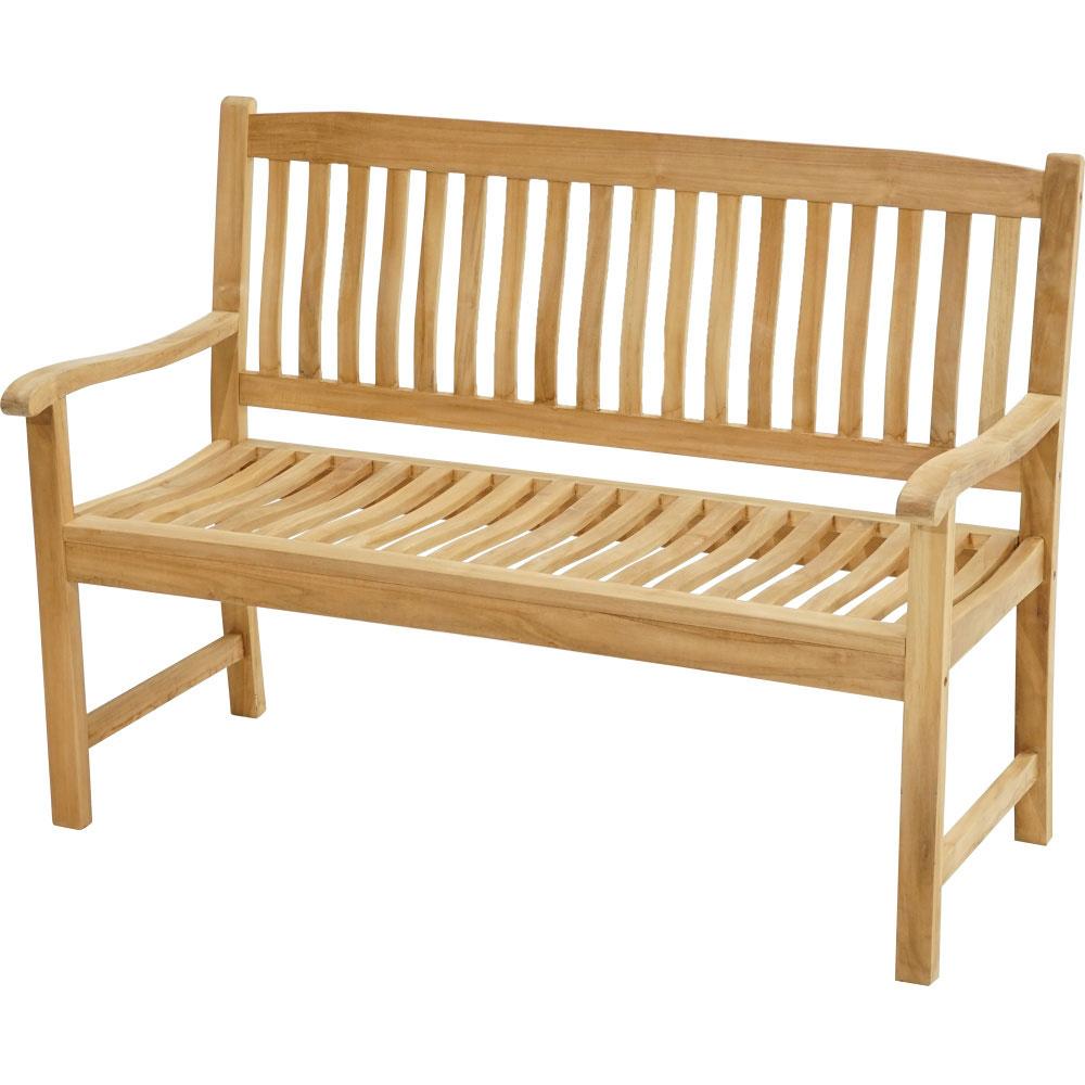 Teaková venkovská lavice ergonomicky tvarovaná 130 New Haven - Premium natural teak Pevná - Legální dřevo z Indonésie - Indonésie