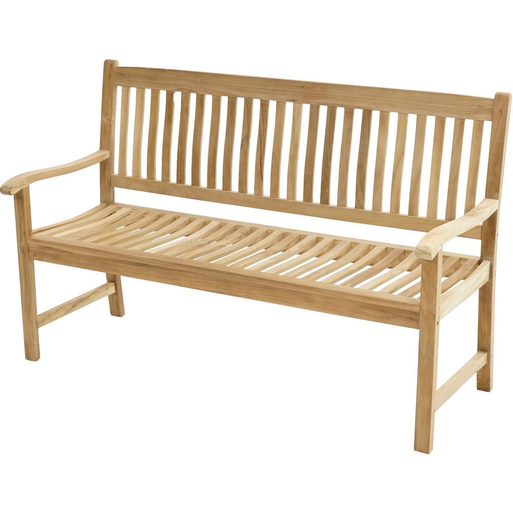 Teaková venkovská lavice ergonomicky tvarovaná 150 New Haven - Premium natural teak Pevná - Legální dřevo z Indonésie - Indonésie