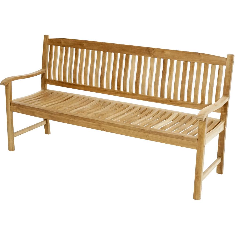 Teaková venkovská lavice ergonomicky tvarovaná 180 New Haven - Premium natural teak Pevná - Legální dřevo z Indonésie - Indonésie