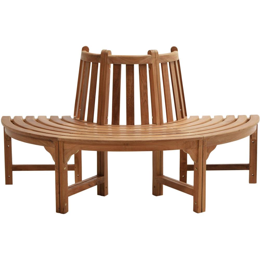 3-dílná zahradní teaková stromová lavice poloviční 53 cm - Premium natural teak Pevná - Legální dřevo z Indonésie - Indonesia
