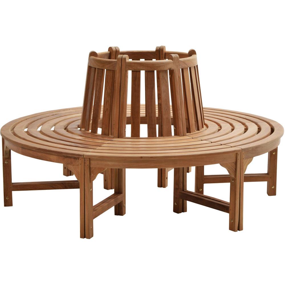 6-dílná zahradní teaková stromová lavice 53 cm - Premium natural teak Pevná - Legální dřevo z Indonésie - Indonesia