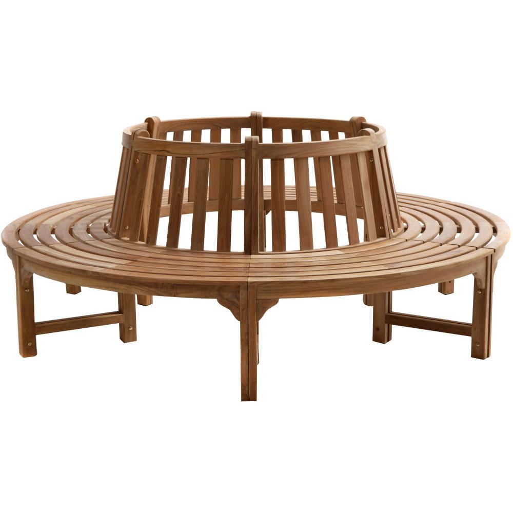 6-dílná zahradní teaková stromová lavice 100 cm - Premium natural teak Pevná - Legální dřevo z Indonésie - Indonesia